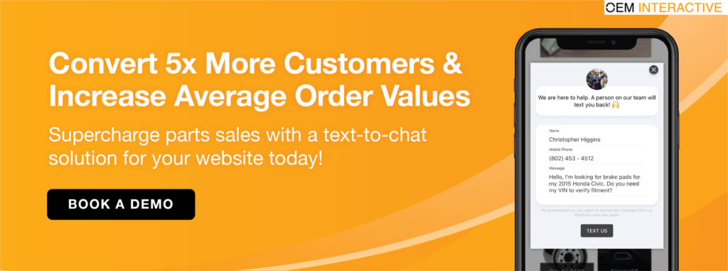 text to chat - parts ecommerce
