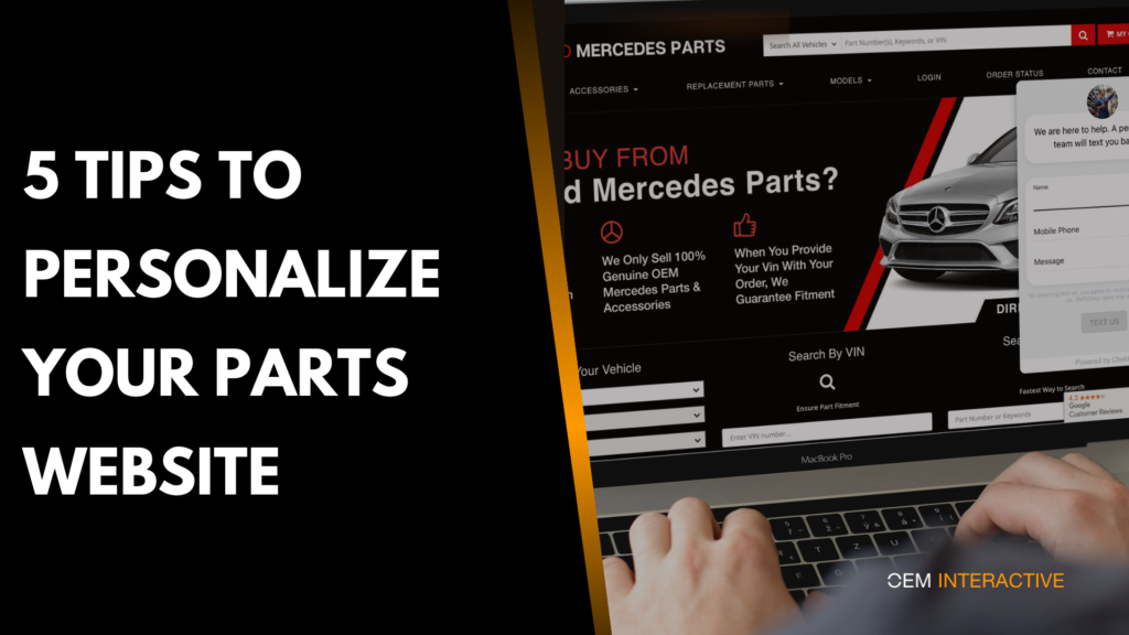 parts ecommerce website personalization